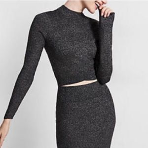 Express Sparkly Sweater Knit Crop Top